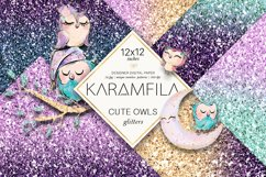 Cute Owls Glitter Patterns Product Image 1