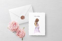 Watercolor Maternity clipart, Pregnancy woman in dress Product Image 2