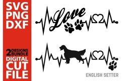 2x English Setter Bundle svg, Dog svg, Heartbeat svg, Love Product Image 1