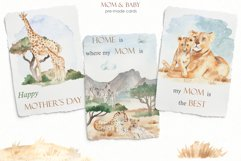 Mom and baby animals Watercolor Product Image 8