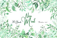 Watercolor Greenery Clipart in Neo Mint, Botanical Elements Product Image 2