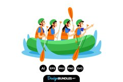 Family River Rafting Illustrations Product Image 1
