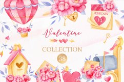 Valentine's day clipart, Bird clipart, Watercolor clipart Product Image 1