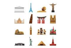 World landmarks flat icons Product Image 1