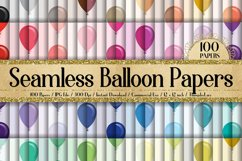 100 Seamless Balloon Pattern Kid Birthday Digital Papers Product Image 1