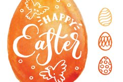 Happy Easter. Vector elements and watercolor textures. Product Image 3