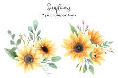 Watercolor Sunflowers Clipart Product Image 6