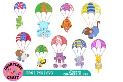 Cute flying parachute Animals clipart, Animals clipart Product Image 1