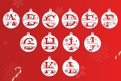 Christmas Split Letters - Christmas Ornament SVG - Monogram Product Image 2