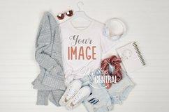 Women's Cool Summer T-Shirt Mockup Flatlay JPG Product Image 1