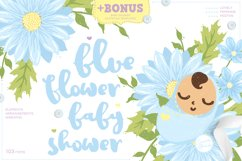 Blue Flower Baby Shower with Invitation Templates Product Image 1