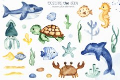 Under the sea. Watercolor clipart, frames, cards, patterns Product Image 9