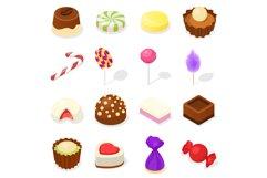 Candy icon set, isometric style Product Image 1