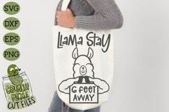Llama Stay 6 Feet Away SVG Cut File Product Image 3
