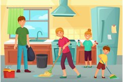 Family cleaning kitchen. Father, mother and kids clean cuisi Product Image 1