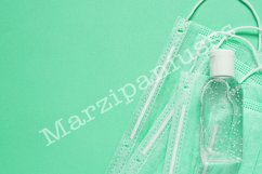 Protective mask, sanitizer and gloves. COVID-19 protection Product Image 1