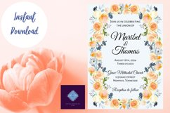 Peach and Dusk Blue Watercolor Wedding Invitation Product Image 3