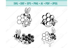 Bee SVG, Queen Bee Svg, Bee with Honeycomb Png, Eps, Dxf Product Image 1