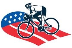Cyclist riding racing bike star and stripes flag Product Image 1