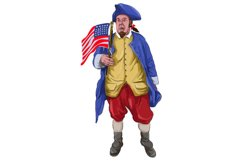 American Patriot Shouting Holding Flag Watercolor Product Image 1
