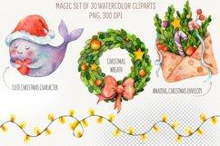Magic Christmas. Watercolor cartoon cliparts Product Image 2