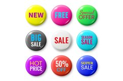 Sale badges buttons. Special offer shop button, red new badg Product Image 1