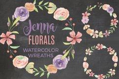 Jenna Floral 7 Wreaths Watercolors Foliage Pastel Purple Product Image 1