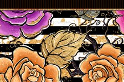 Halloween Flowers Seamless Patterns, Roses Digital Papers Product Image 10