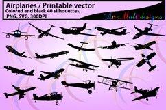 Airplane / aeroplane / printable aeroplane / SVG FILES /silhouette / vector / black & color / airplane silhouette / aeroplane silhouette Product Image 2