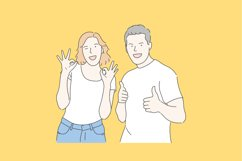 Men and women are showing happy expressions. Hand drawn Product Image 1