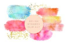 Watercolor Glitter Brushes Stroke, Watercolor Paint Splotch, Digital Watercolor Splotch, pink paint clipart, gold glitter paint clipart Product Image 1