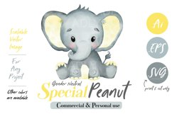 Baby Elephant, PNG, EPS, SVG, yellow color, Clip Art, vector Product Image 1