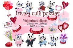 Valentines Day watercolor clipart, funny pandas Product Image 1