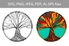 Tree of life hand drawn illustration in vector Product Image 1