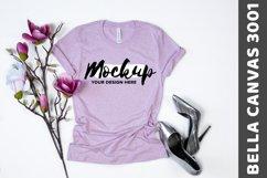 Bella Canvas 3001 Heather Prism Lilac Flat Lay Shirt Mockup Product Image 1