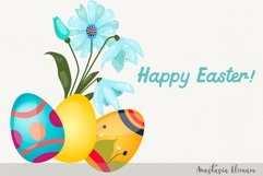 Easter egg hunt with cute bunny vector clipart eps png svg Product Image 2