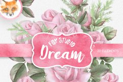 English Roses Watercolour Clipart. Hand painted watercolour Product Image 1