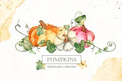 Watercolor Pumpkins. Clipart, cards, seamless patterns Product Image 1