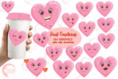 Valentine faces clipart, Heart emojis clipart, graphics illustrations AMB-1172 Product Image 1