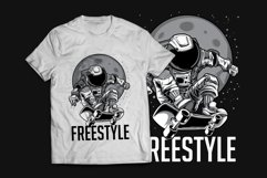 Astronaut Skateboard T-Shirt Design Product Image 2