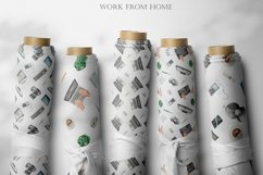 Work from home Watercolor clipart. Seamless patterns, frame Product Image 8