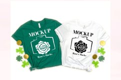 Bella Canvas 3001 Mockup White and Kelly - St Patrick's Day Product Image 1