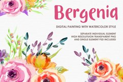 Bergenia - Digital Watercolor Floral Flower Style Clipart Product Image 1