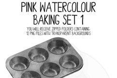Pink Watercolor Baking Clip Art Set Product Image 4
