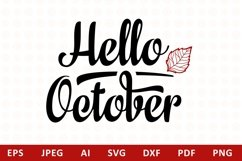 Hello October Lettering Phrase Text Graphic Product Image 1