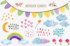 Watercolor Unicorn Set. Seamless Patterns, Clipart Product Image 3