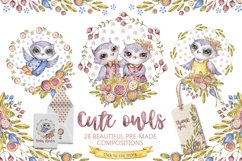 Cute owls clipart. Watercolor collection with floral forest Product Image 3