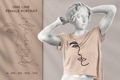 One Line Female Portrait Minimal Line Art Clipart Product Image 1