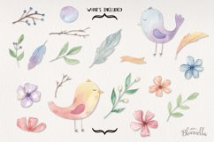 Spring Birds Easter Flower Watercolor 19 Elements Floral Product Image 4