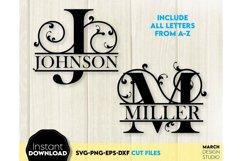 Family Monogram SVG, Letter Monogram SVG, A-Z Monogram SVG Product Image 1
